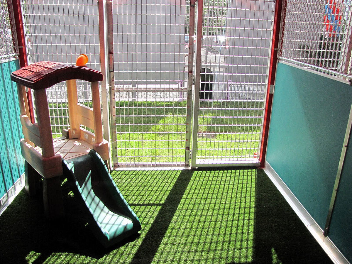 The Patios Of The VIP Suites Include Dog Sized Playsets. Photo By Vance  Cope.