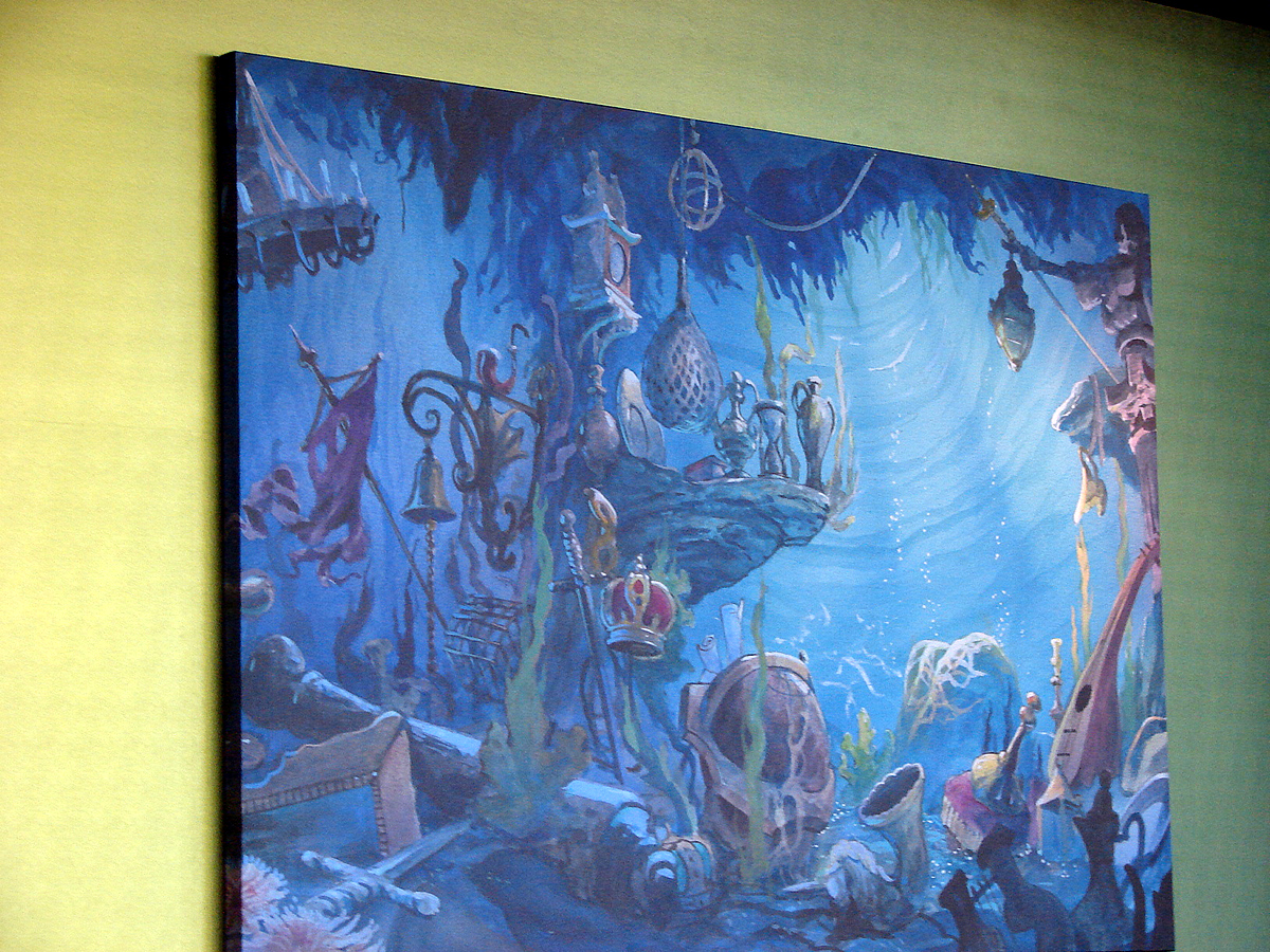 A Painting Of Some Of Arielu0027s Treasures Decorates A Wall In The Little  Mermaid Themed Seating Area In The Food Court. Photo By Mark Goldhaber.