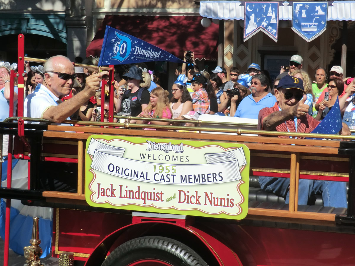 Mouseplanet disneyland resort update for july 21 26 2015 by jack lindquist and dick nunis are among the original disneyland employees honored during the parks 60th anniversary photo by adrienne vincent phoenix publicscrutiny Images