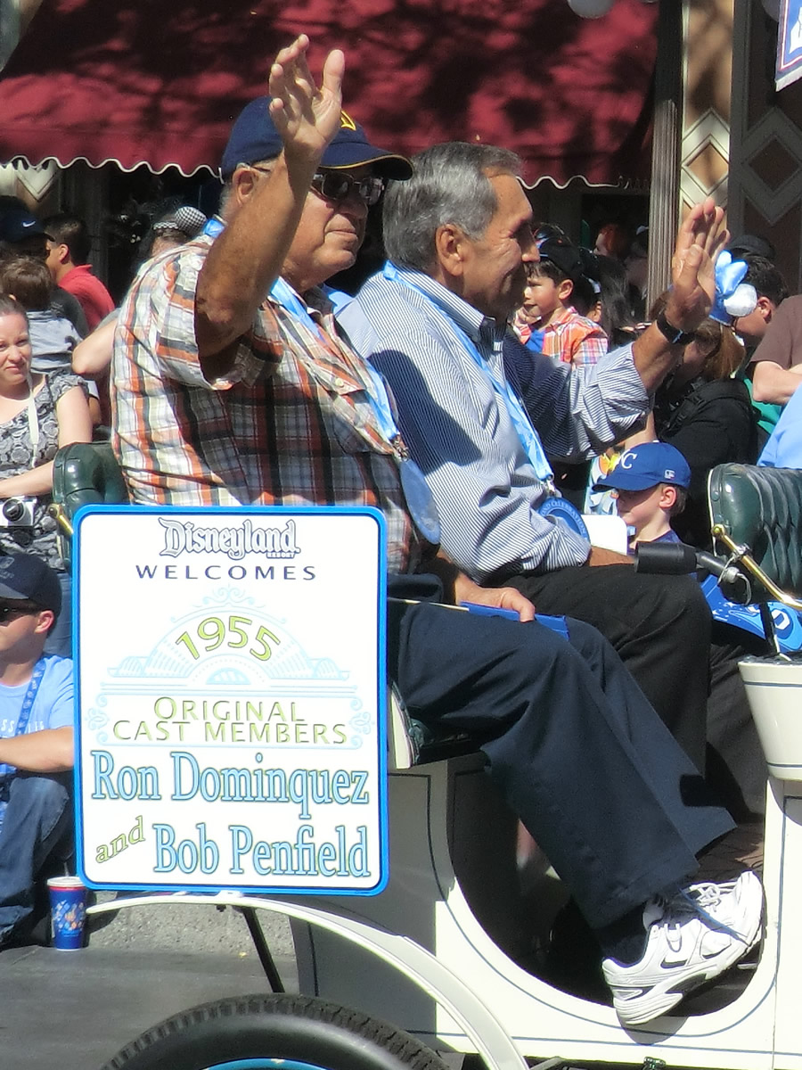 Mouseplanet disneyland resort update for july 21 26 2015 by ron dominguez left in car and bob penfield right in car are honored at disneyland for being among the parks first employees in 1955 publicscrutiny Images