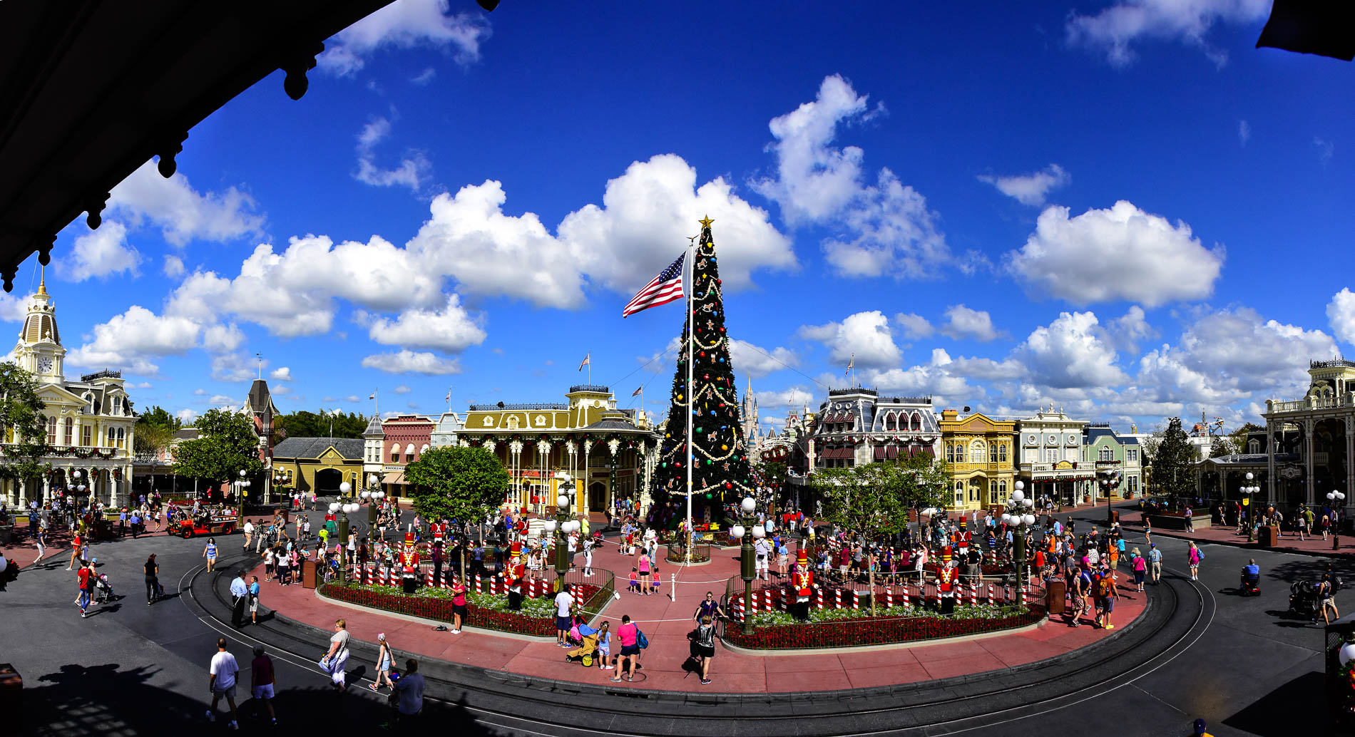 christmas at the magic kingdom shows up right after halloween in a big way with the decorations around the square on main street photo by donald fink