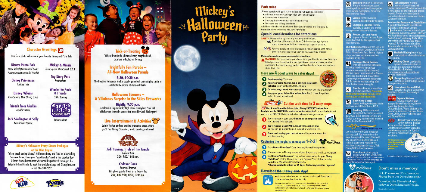 the exterior panels of the 2016 mickeys halloween party guide map