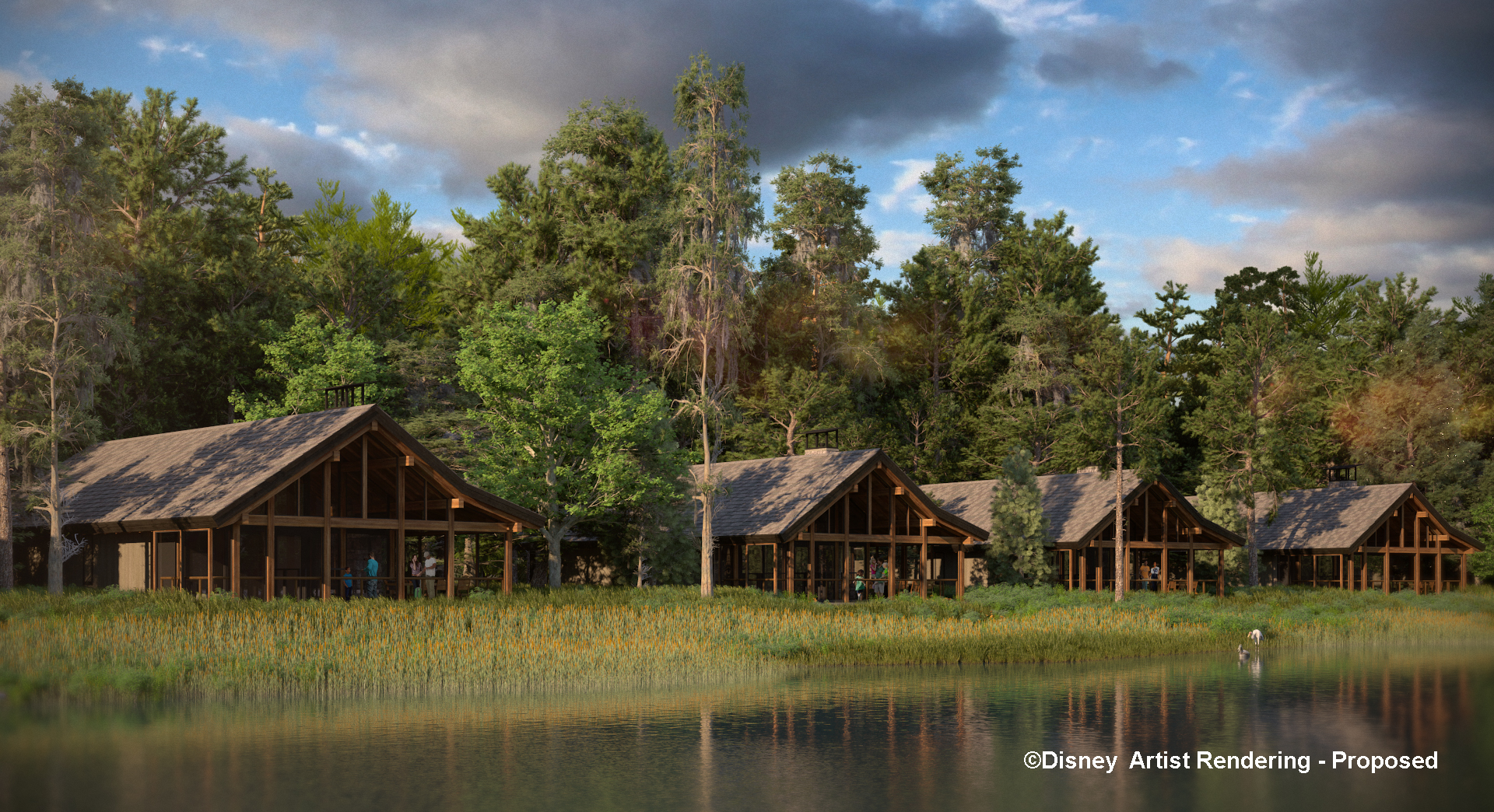 Twenty Six Cabins Are Under Construction Along The Shore Of Bay Lake And  Around The Bend To The Northwest Of The Wilderness Lodge Boat Dock.