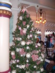 The Gibson Girl Christmas tree perfectly matches the Victorian decor.