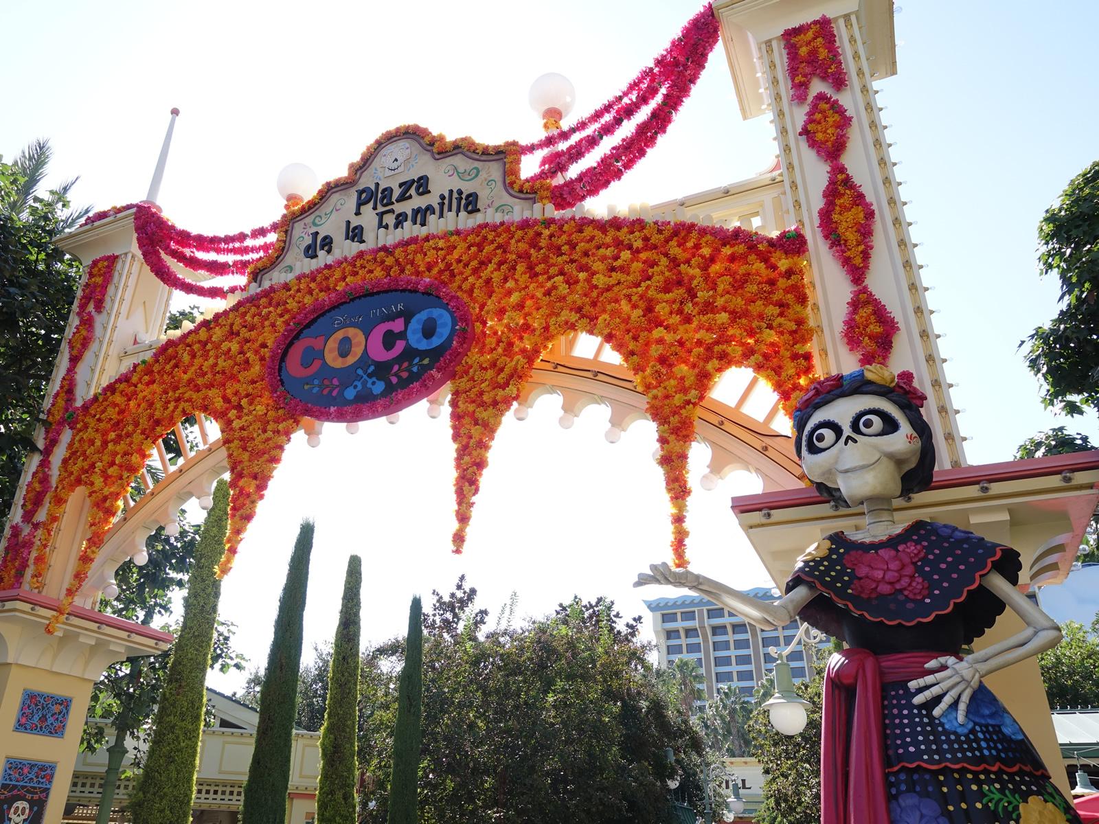 Mouseplanet disneyland resort update for october 2 8 2017 by a smiling calaca stands at the entrance to the plaza de la familia in disney california adventure photo by adrienne vincent phoenix publicscrutiny Choice Image