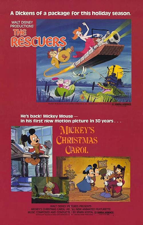 A Poster Of Mickeys Christmas Carol Paired With The Rescuers Double Feature Ran In Theaters 1983