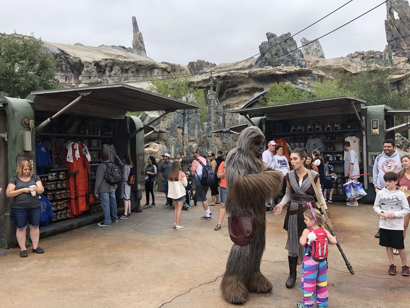 Interacting with Rey and Chewbacca on Batuu