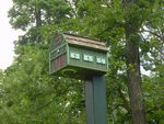 "This ""birdhouse"" actually hides a security camera.  Photo by Mark Goldhaber."