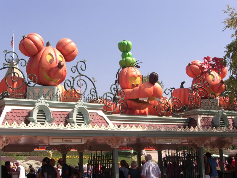 Mickey, Goofy and Minnie appear in pumpkin form above the Main Entrance gates to Disneyland. Photo by Adrienne Vincent-Phoenix.