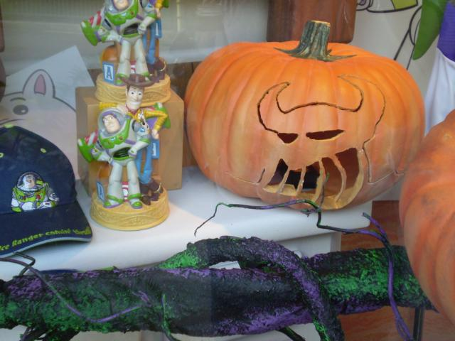 Woody, Buzz and Zurg in window displays. Photo by Shoshana Lewin.
