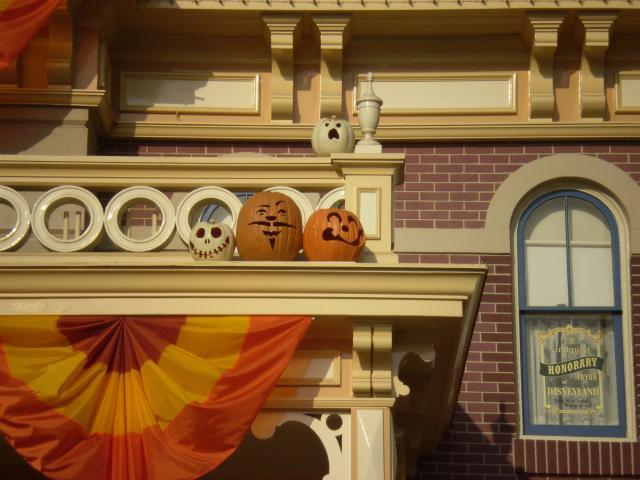A closeup of City Hall shows several clever Jack-O-Lanterns. Photo by Shoshana Lewin.