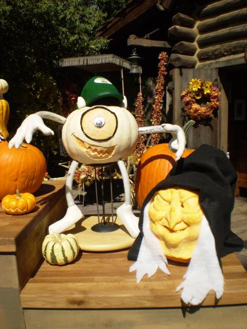 Mike Wazowski and the Old Hag as pumpkins. Photo by Shoshana Lewin.