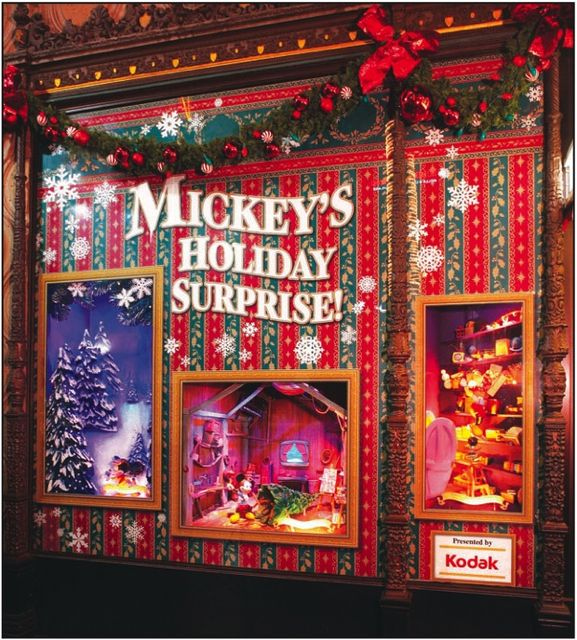 Festive display windows tell the story of Mickey's Holiday Surprise. (c) Disney Enterprises, Inc. All rights reserved.
